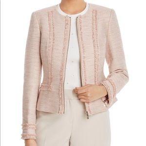 Textured cotton blend jacket with chic fringe trim